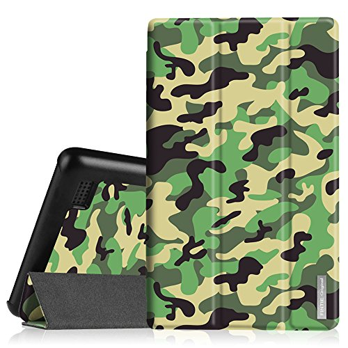 Fintie Slim Shell Case for Amazon Fire (Previous 5th Generation, 2015 7 inch) - Super Slim Lightweight Standing Cover, Camo Green (7 Inch Camo Tablet Case)