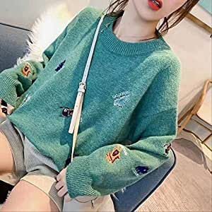 LCHOBYM Women's Sweater Fashion Cartoon Pattern Pullover Long Sleeve Plaid Casual Ladies Sweaters One Size Turquoise