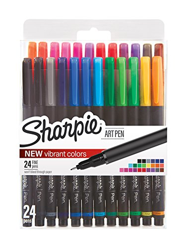 Sharpie Art Pens, Fine Point, Assorted Colors, 24 Count (1983967) (Sharpies 24 Pack)
