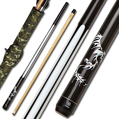 Collapsar 2- Piece Pool Stick + 1x1 Camo Hard Pool Cue Case, with 13mm Glued on Tip,Solid Canadian Maple Billiard Pool Cue Stick 19-21 Oz (CP1+Joint Protector+Cue Case, 19 Ounce) (Camouflage Pool Cue Case)