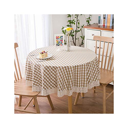 (Round Tablecloth Thick Linen Kitchen Dinner Lace Pastoral Style Simple Coffee Table Cloth,8,Round)