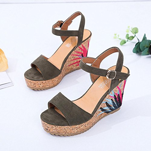 Sandals Toe Ankle Women Open Strap Green Heeled Sandals Fashion Platform Wedge Shoes Bohemian Ladies Muium High awP8qvv