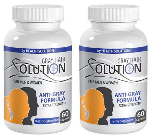 anti-aging moisture complex - GRAY HAIR SOLUTION - FOR MEN & WOMEN - EXTRA STRENGTH FORMULA - nettle capsules - 2 Bottles (120 Capsules) by Health Solution Prime