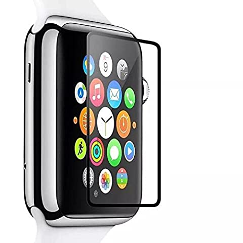 42mm Screen Protector for Apple Watch iWatch, YaSaShe 0.2mm 2.5D Tempered Glass Film (42mm(black)) - Diamond Protector Faceplate