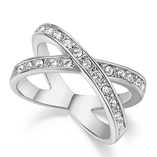 (FENDINA Womens 18K White Gold Plated Wedding Engagement Rings Criss Cross 'X' Cubic Zirconia Anniversary Promise Rings)