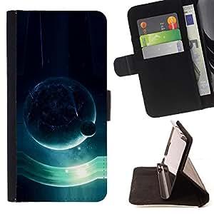 BullDog Case - FOR/LG OPTIMUS L90 / - / Blue Planet /- Monedero de cuero de la PU Llevar cubierta de la caja con el ID Credit Card Slots Flip funda de cuer