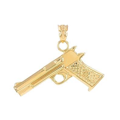Amazon solid 14k yellow gold pistol gun necklace pendant jewelry solid 14k yellow gold pistol gun necklace pendant aloadofball Image collections