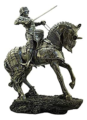 Large Medieval Centurion Knight of Valor With Armored Horse Statue