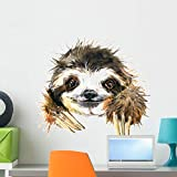 Wallmonkeys Tropical Watercolor Sloth Wall Decal Peel and Stick Animal Graphics (24 in W x 22 in H) WM502834