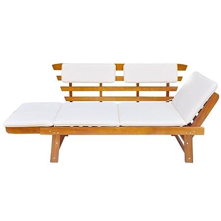 Festnight Outdoor Patio Sun Bed ,Garden Bench Solid Acacia Wood 74.8 x 26 x 29.5