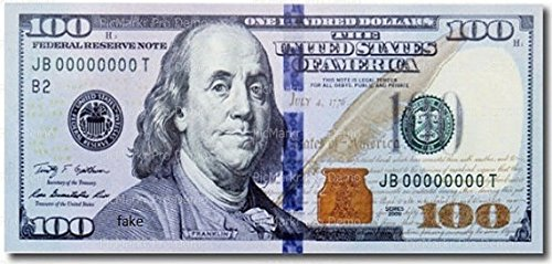 Art of Eric Gunty 1/4 Sheet One Hundred Dollar Bill Background Edible Cake/Cupcake Party ()