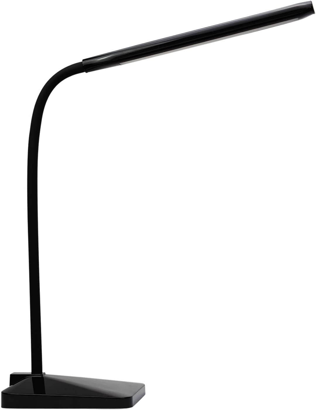 ANNAITE LED Desk Lamp with USB Charging Port Eye-Caring Dimmable Table Lamps 5 Lighting Modes with 5 Brightness Levels Touch Control Memory Function Gooseneck FCC Listed for Bedroom Office Black