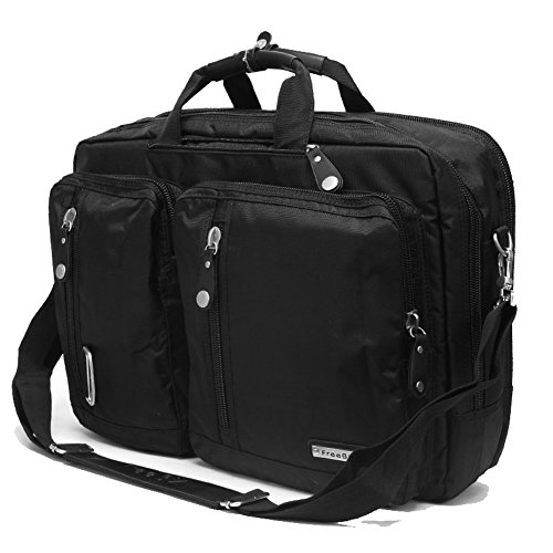 Price comparison product image FreeBiz Laptop Bag 17 Inch Laptop Backpack Back Pack Multi-function Briefcase with Handle and Shoulder Strap Fits 15.6 15 17 17.3 Inch Apple Dell Hp Asus Msi Gaming Laptops ( Black)