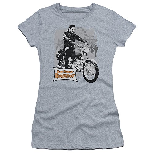 - Trevco Elvis Presley Roustabout Poster Juniors' Sheer Fitted T Shirt, Medium Athletic Heather