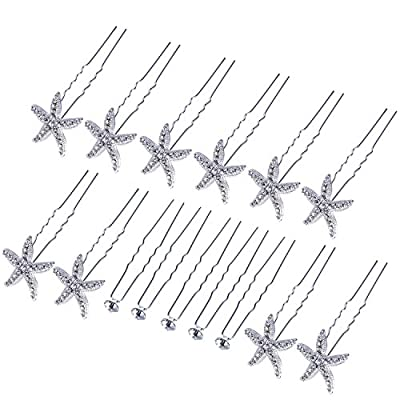 Bememo 10 Pack Bride Starfish Crystal Hair Pin and 5 Pack Single Rhinestone Hair Clips with Storage Bag for Wedding Women Hair Accessories