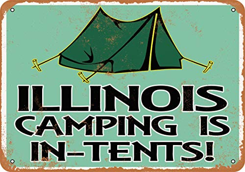 Wall-Color 9 x 12 Metal Sign - Illinois Camping is in-Tents - Vintage Look