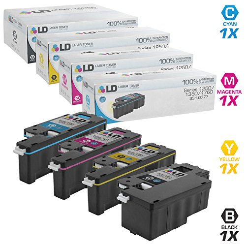LD Compatible Toner Cartridge Replacement for Dell Color Laser 1250c, 1350, 1760 High Yield (Black, Cyan, Magenta, Yellow, 4-Pack)