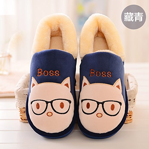 Y-Hui l'inverno SCARPE Indoor pantofole sacchetto di cotone con fondo spesso Slip giovane caldo Inverno Scarpe Uomo,38-39 (Fit per 37-38 piedi),Navy