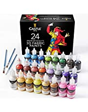 Castle Art Supplies 24 3D Fabric Paints Set for Children Adults Artists   Perfect for Clothing Canvas Glass Wood Metal   29ml Bottles, Includes 3 Brushes   Non Toxic and Safe for Children