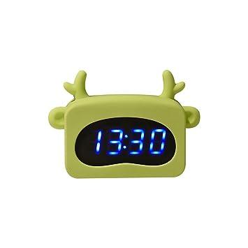 Teepao Reloj despertador digital con indicador de tiempo y temperatura para niña