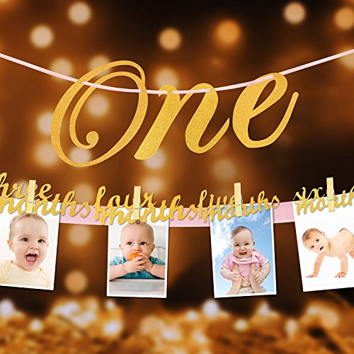Pink Great Photo (1st Birthday Glitter Decorations - Monthly Milestone Photo banner for Newborn to 12 months. Great for 1 Year old Celebration, 1-12 month Star Numbering Photography Garland, Baby Shower Gift)