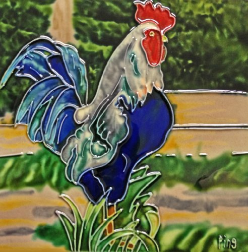 Continental Art Center BD-0259 8 by 8-Inch Blue Tail Rooster Ceramic Art - Wall Rooster Tile
