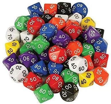 D10 Dice 10 Face 00-90 (Pack of 10): Amazon.es: Electrónica