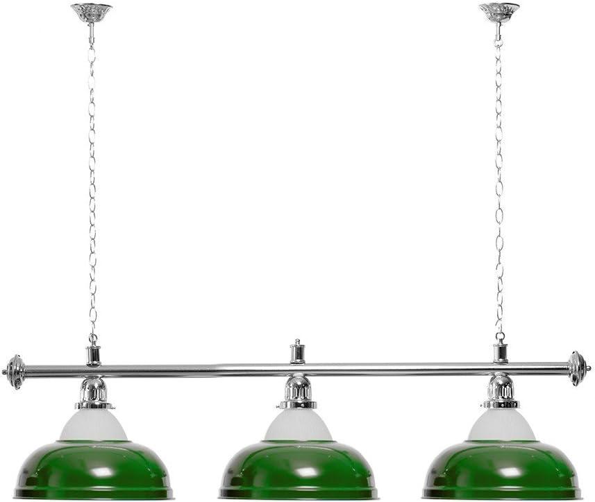 silberfarbene Halterung Billardlampe 3 grüne Schirme mit Glas