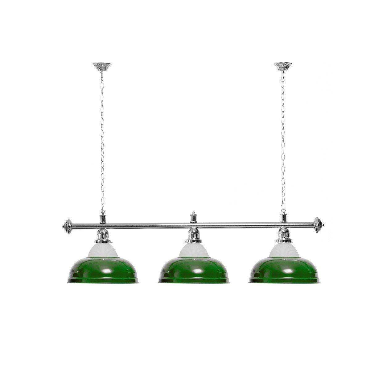 silberfarbene Halterung Billardlampe 3 Schirme gr/ün