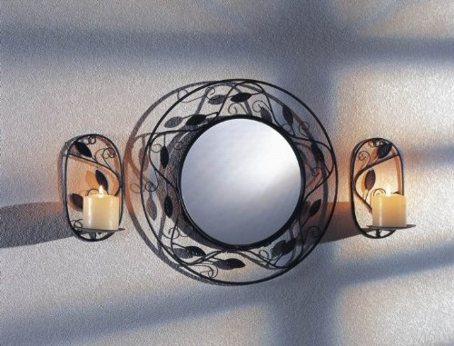 Mirror with 2 candle holders for Wall Mounting – Round or Square Garden Pleasure