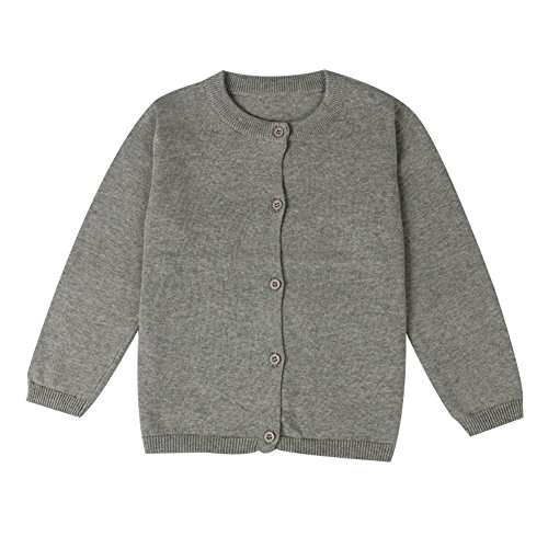 Cardigan Cotton Grey - LOSORN ZPY Baby Boys Girls Button-Down Cardigan Toddler Cotton Knit Sweater Grey 100