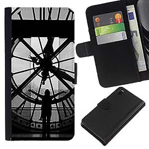 Ihec-Tech / Flip PU Cuero Cover Case para Sony Xperia Z3 D6603 / D6633 / D6643 / D6653 / D6616 - Architecture Big Ben Clok Inside