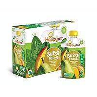 Happy Tot Organic Etapa 4 Super Foods Peras Mangos y espinacas + Super Chia, 4.22 onzas (paquete de 16) (el empaque puede variar) Sin gluten OGM3 sin fibra OGM de excelente fuente de vitaminas A y C