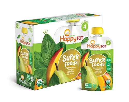 (Happy Tot Organic Stage 4 Super Foods Pears Mangos and Spinach + Super Chia, 4.22 Ounce Pouch (Pack of 16) (Packaging May Vary) Non-GMO Gluten Free3g of Fiber Excellent source of vitamins A & C)