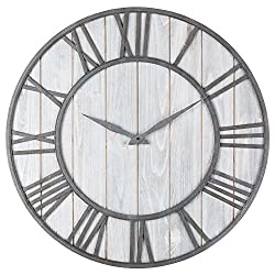 Oldtown Farmhouse Metal & Solid Wood Noiseless Wall Clock (Whitewash, 36-inch)