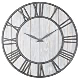Oldtown Clocks OLDTOWN Farmhouse Metal & Solid Wood Whisper Quiet Ticking Wall Clock (WhiteWash, 30-inch) Review