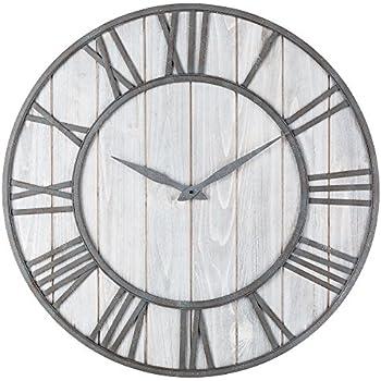Oldtown Clocks OLDTOWN Farmhouse Metal U0026 Solid Wood Whisper Quiet Ticking Wall  Clock (WhiteWash, 30 Inch)