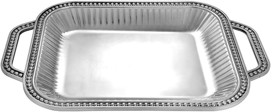 Wilton Armetale Flutes and Pearls Rectangular Serving Tray with Handles, 18-Inch-by-12-Inch- 272484, Silver