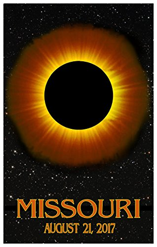 Missouri Solar Eclipse Giclee Travel Art Poster (12 x 18 inch) Art Print for Bedroom, Family Room, Kitchen, Dorm Room or Office Wall - Mall Valley Wyoming