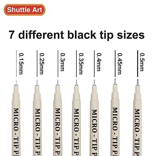 Shuttle Art 18 Pack Ultra Fine Point Tip Micro Line Pens - Waterproof Archival Ink & 11 Colors in 0.3MM Felt Tip - 7 Blacks in Tip Sizes 0.15MM to 0.5MM For Journaling Technical Illustrating Drawing by Shuttle Art (Image #3)
