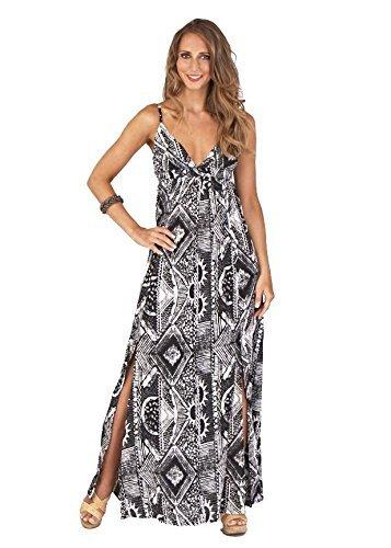 Boutique, Pour Femmes Léger Lanières Ajustables noir et blanc Tribal Robe Maxi