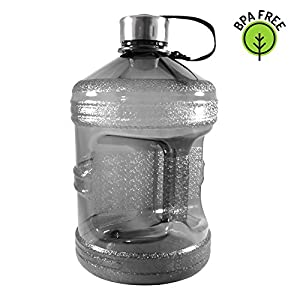 1 Gallon BPA-Free Reusable Plastic Sports Water Bottle with Stainless Steel Cap