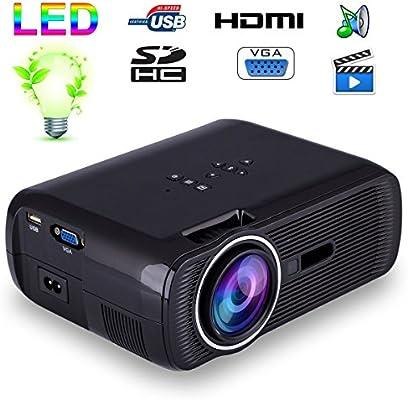 Mini proyector de vídeo portátil LED 1000 lumens HD Tarjeta SD USB ...