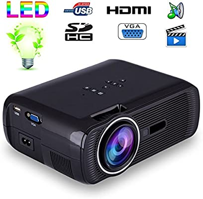 Mini proyector de vídeo portátil LED 1000 lumens HD Tarjeta ...