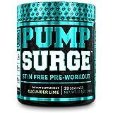 PUMPSURGE Caffeine Free Pump & Nootropic Pre Workout Supplement - Non Stimulant Preworkout Powder & Nitric Oxide Booster - 20