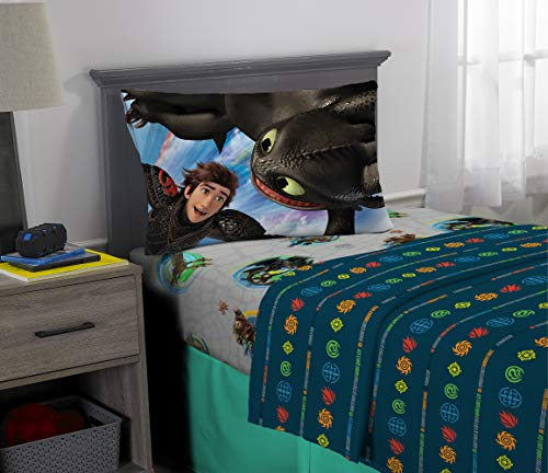 Franco Kids Bedding Super Soft Microfiber Sheet Set, 3 Piece Twin Size, How to How to Train Your Dragon