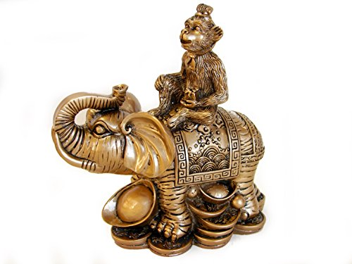 monkey on elephant chinese figurines. Black Bedroom Furniture Sets. Home Design Ideas