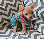 Hand Knit Tiny Dog Puppy Kitten Sweater 1 to 2 LBS ONLY! with Crocheted Flower Option XXXS for Teacup Chihuahu