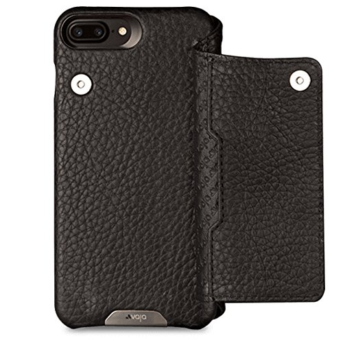 Vaja Cases Niko Wallet iPhone 7 Plus Leather Case - Magnetic Closure System, Back Multi Card Slot - Floater Black by Vaja