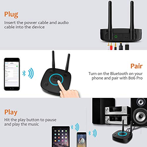 1Mii B06Pro Long Range Bluetooth Receiver, HiFi Wireless Audio Adapter, Bluetooth 4.2 Receiver with 3D Surround aptX Low Latency Optical RCA AUX 3.5mm for Home Stereo System